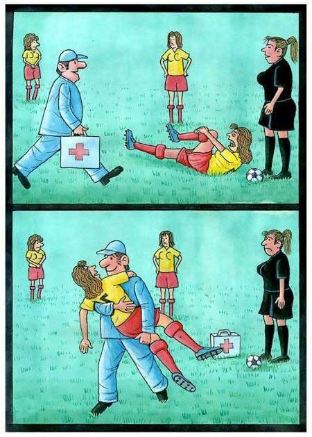 карикатура футбольные травмы
